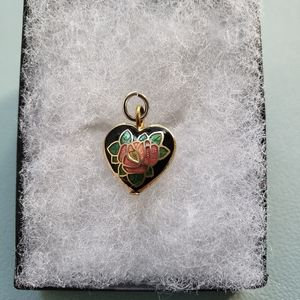 Vintage Gold Stained Glass Rose Heart Pendant